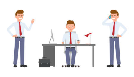 Young happy office worker sitting at the desk, waving hello, talking on phone. Cartoon character design of cute clerk busy during day job concept - Vector
