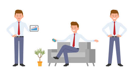 Young happy office worker in formal wear sitting on sofa, holding smartphone, showing infographics. Cartoon character design of handsome person different doings during day job concept - Vector