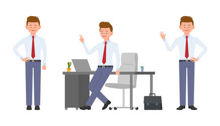 Young smiling office manager waving hello, victory sign, standing. Cartoon character design of successful worker, confident, carefree, cheerful concept - Vector
