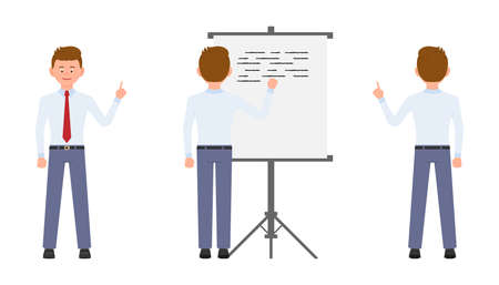 Young office manager pointing finger, writing on flipchart, standing from back. Cartoon character design of busy worker, idea, solution concept - Vector Ilustração