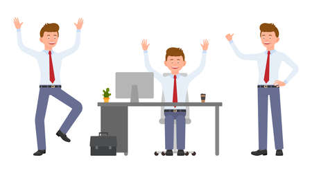Young, handsome, happy office manager in formal wear jumping, sitting, standing hands up, having fun. Cartoon character design of cute adult guy joyful, carefree emotional concept - Vector