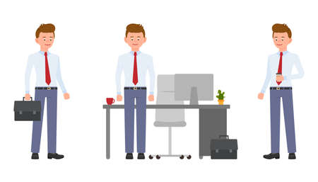 Young friendly office clerk in formal wear standing by the desk, holding coffee and briefcase. Cartoon character design of handsome man smiling, standing confidently emotional concept - Vector Çizim