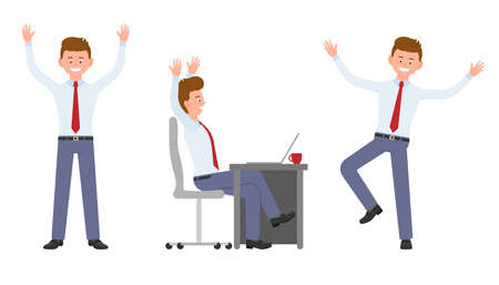 Young, handsome, happy office man in formal wear jumping, sitting, standing hands up, having fun. Cartoon character design of cute adult guy joyful, carefree emotional concept - Vector