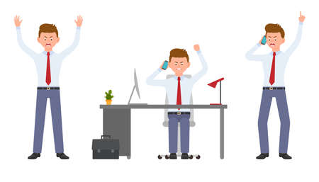 Young office manager angry, stressed, desperate, talking on phone. Cartoon character design of shouting, pointing finger, unhappy man emotions concept - Vector Çizim