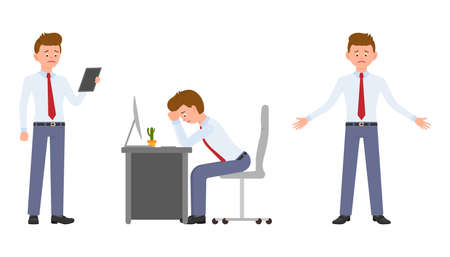 Young office worker in formal wear standing with tablet, sitting at the desk. Cartoon character design of stressed, upset, sad, tired, disappointed man at work concept - Vector Çizim