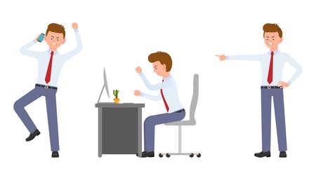Gerente de oficina joven enojado, estresado, sentado en el escritorio, hablando por teléfono. Diseño de personajes de dibujos animados de gritos, dedo acusador, concepto de emociones de hombre infeliz - Vector Ilustración de vector