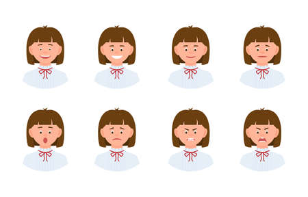 Emotional face cartoon character young office woman design set. Happy, smiling, upset, surprised, sad, angry, shouting person flat concept
