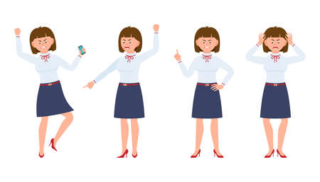 Young office lady angry, stressed, desperate. Cartoon character design of shouting, pointing finger, unhappy woman emotions concept Stock fotó - 123102773