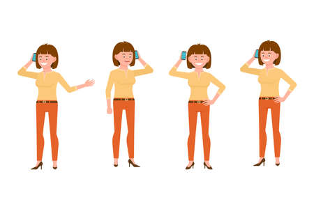 Happy, smiling, brown hair young woman in orange pants vector illustration. Calling, talking on phone, standing girl cartoon character set on white background