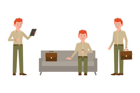 Young, smiling, red hair office man in green pants vector illustration. Sitting on sofa, drinking coffee, using tablet, standing boy cartoon character set on white background