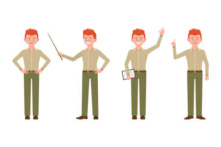 Happy, funny, red hair young office worker guy in casual office look vector illustration. Waving hello, pointing finger, holding wand, standing boy cartoon character set on white background
