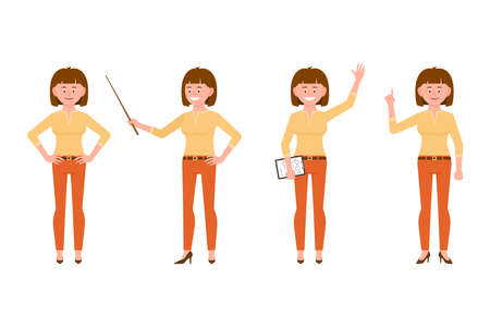 Happy, funny, brown hair young office worker lady in casual office look vector illustration. Waving hello, pointing finger, holding wand, standing girl cartoon character set on white background  Ilustração