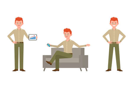 Friendly, elegant, red hair business adult man in green pants vector illustration. Standing with tablet, sitting on sofa with smartphone guy cartoon character set on white background