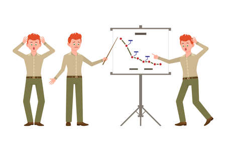 Amazed, upset, red hair office clerk man in green pants vector illustration. Making presentation, showing market decline report guy cartoon character set on white background