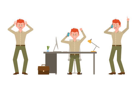 Angry, stressed, red hair office man in green pants vector illustration. Talking on phone, shouting, sitting at desk boy cartoon character set on white background