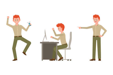 Nervous, aggressive, red hair office worker in green pants vector illustration. Pointing finger, angry at table man cartoon character set on white background Ilustração
