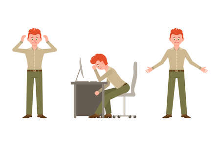 Sad, exhausted, miserable office guy in green pants vector illustration. Standing unhappily, sitting depressed man cartoon character set on white background