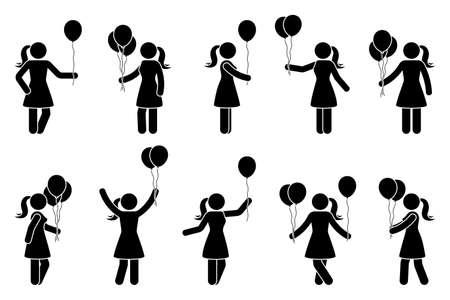 Stick figure femme avec ballon anniversaire célébration vecteur icône personnes pictogramme. Silhouette d'éléments de conception de fête féminine debout heureux Vecteurs