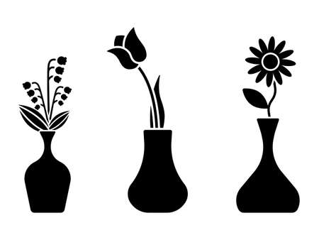 Flower icon, sign, symbol, black and white vector set. Group of blossom in vase flat simple style Ilustração