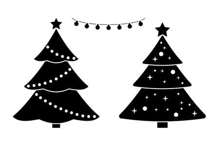 New Year tree black and white vector icon pictogram set. Marry Christmas decoration elements design simple flat style