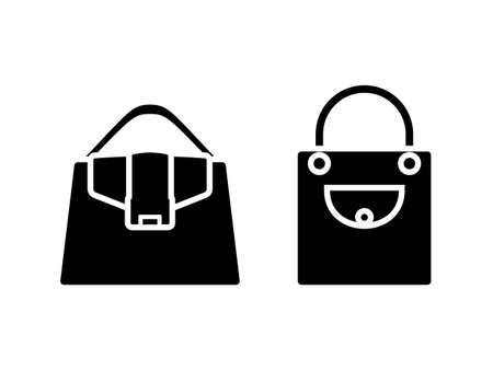 Woman bag black and white vector icon pictogram set. Lady accessory wardrobe symbol silhouette