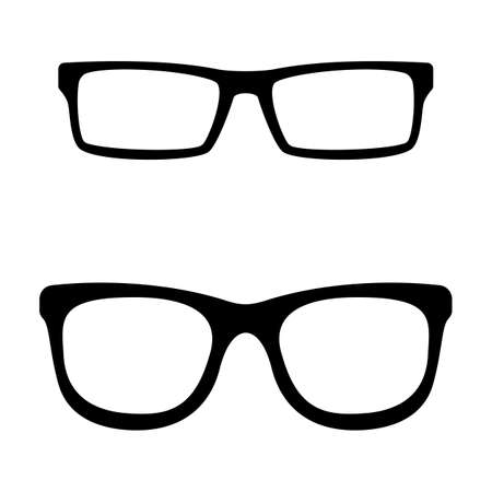 Eyeglasses icon black and white vector pictogram. Reading accessory silhouette