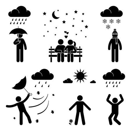 Stick figure man weather icon vector set pictogram. Raining, snowing, storm, wind, sunny day flat style silhouette