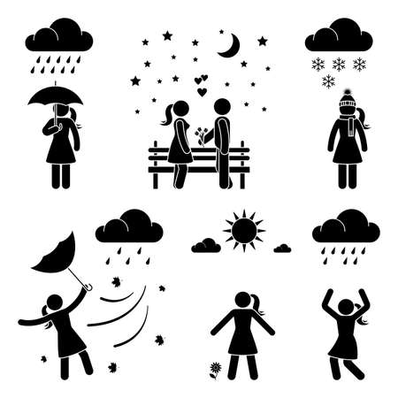 Stick figure woman weather icon vector set pictogram. Raining, snowing, storm, wind, sunny day flat style silhouette