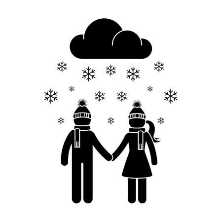 Stick figure winter snowing man and woman vector icon set. Young couple walking in cold weather pictogram