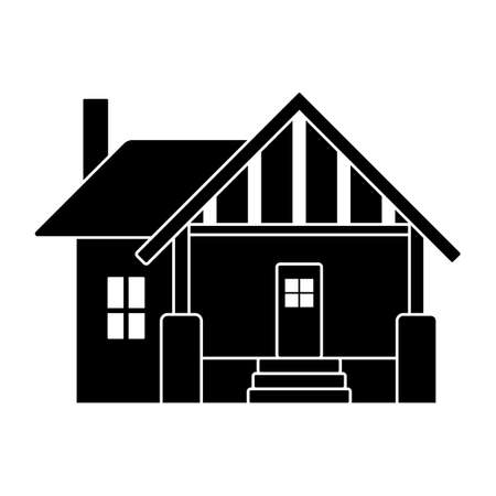 Small house vector icon pictogram. Flat style black and white simple design home silhouette on white background
