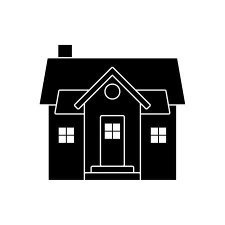 Small home vector icon pictogram. Flat style black and white simple design house silhouette on white background Ilustração