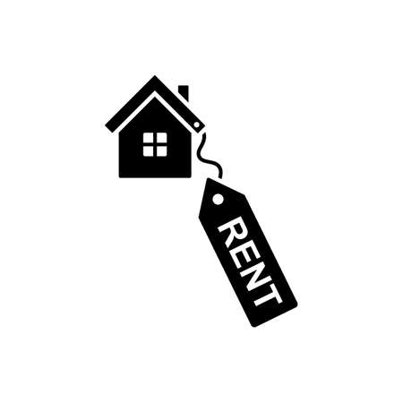 House for rent black and white vector icon pictogram. New home sign, symbol, silhouette on white background Ilustração