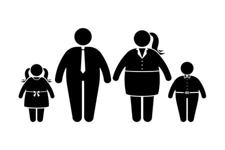 Fat family stick figure vector icon set. Obese people, children couple black and white flat style pictogram on white background