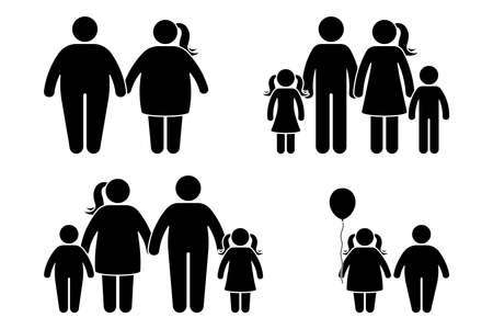 Fat family stick figure vector icon set. Obese human, children couple black and white flat style pictogram on white background Ilustração