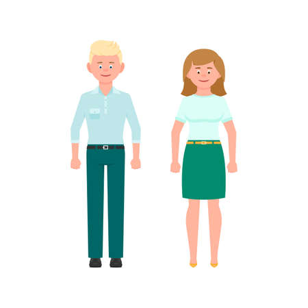 Young blonde hair man in mint pants and medium blonde hair woman in green skirt vector illustration. Front view standing boy and girl cartoon character set on white background