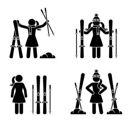 Skifahrer-Frau, die mit Ski-Strichmännchen-Vektor-Icon-Piktogramm-Set steht. Winter Schneespaß Sport Freizeit Lifestyle Urlaub aktives Spiel Silhouette auf weißem Hintergrund
