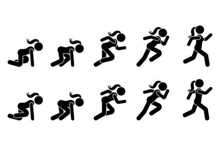 Stick figure runner sprinter sequence icon vector pictogram. Low start speeding woman sign symbol posture silhouette on white background
