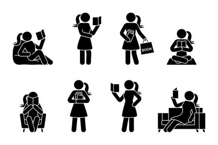 Stick figure woman reading book different poses vector icon pictogram. Student girl learning studying lesson silhouette on white background