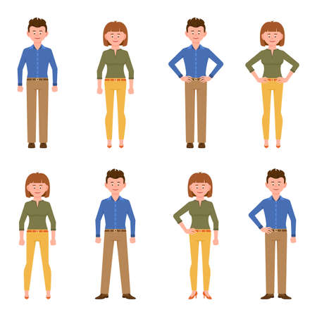 Happy, friendly office worker man in light brown pants and woman in yellow pants vector illustration. Front view standing, smiling boy and girl cartoon character set on white background
