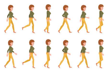 Jeune femme adulte en séquence de marche pantalon jaune pose illustration vectorielle. Aller de l'avant personnage de dessin animé fille sur fond blanc Vecteurs
