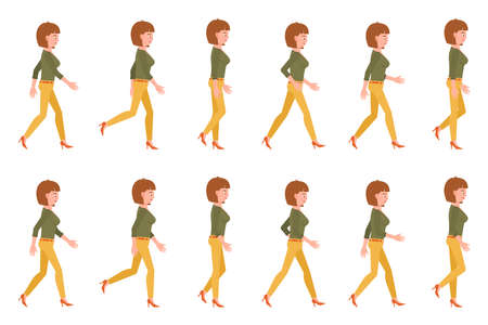 Young adult woman in yellow pants walking sequence poses vector illustration. Moving forward going girl cartoon character set on white background