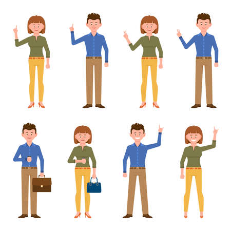 Happy, smiling man in blue shirt and woman in yellow pants vector illustration. Pointing finger, waving, standing front view with coffee, victory sign boy and girl cartoon character set on white background