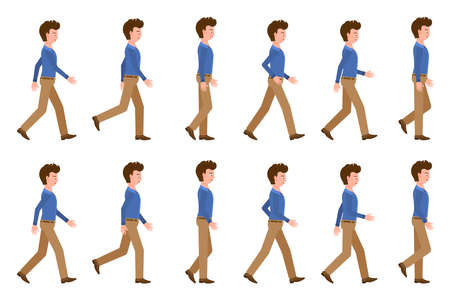 El hombre adulto joven en la secuencia que camina de los pantalones de color marrón claro plantea la ilustración del vector. Avanzando en el juego de personajes de dibujos animados sobre fondo blanco. Ilustración de vector