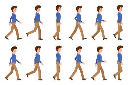 Junger erwachsener Mann in hellbrauner Hose, der Sequenz geht, wirft Vektorillustration auf. Vorwärts gehen Cartoon-Zeichensatz auf weißem Hintergrund Vektorgrafik