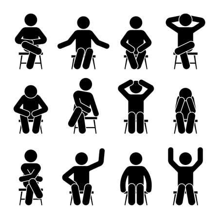 Sentado en la silla, figura de palo, hombre, diferentes poses, pictograma, vector, icono, conjunto. Silueta de niño sentado feliz, cómodo, triste, cansado, deprimido signo sobre fondo blanco.