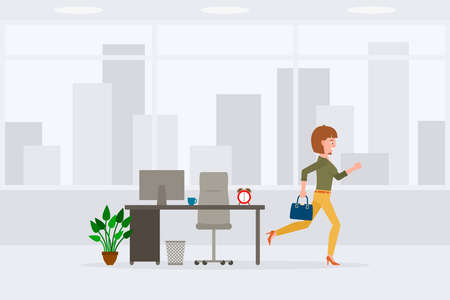 Young adult woman in yellow pants running away from office at the end of day vector illustration. Fast moving forward, going home cartoon character on cityscape background