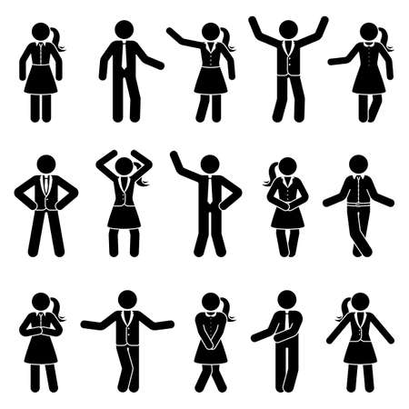 Stick figure business male and female standing front view different poses vector icon pictogram set. Black and white cut out office men and women people human silhouette on white background