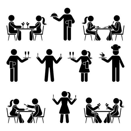 Stick figure man and woman, chef cook, waitress, waiter vector icon pictogram set. Eating, sitting at restaurant, dating, hungry, having dinner stickman silhouette on white