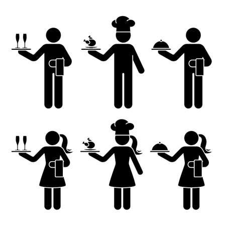 Strichmännchen Kellner, Kellnerin, Chefkoch Mann und Frau Vektor Icon Piktogramm Set. Stehend mit Sektgläsern, Hühnchenessen, Tablett-Restaurant-Service-Silhouette auf Weiß