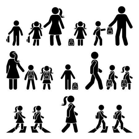 Strichmännchen-gehende Kinder mit Eltern und Rucksackvektorsymbol-Piktogramm. Junge und Mädchen auf Zebrastreifen gehen zur Schule Silhouette auf weiß Vektorgrafik